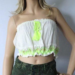 NWT Free People Ivory No More Tiers Tube Top